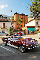 Corvette car parked outside lake side bars.Locarno, Ticino Switzerland