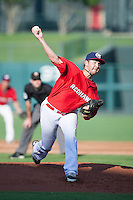 Oklahoma City RedHawks pitcher Brady Rodgers (28) on the mound during the Pacific League game against the Colorado Springs Sky Sox at the Chickasaw Bricktown Ballpark on August 3, 2014 in Oklahoma City, Oklahoma.  The RedHawks defeated the Sky Sox 8-1.  (William Purnell/Four Seam Images)