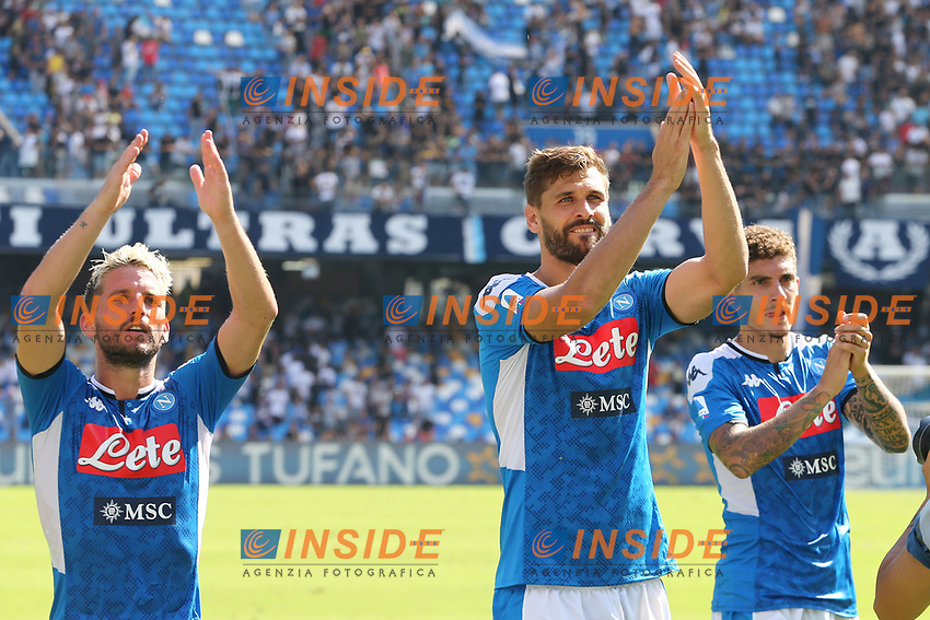 Dries Mertens of Napoli and Fernando Llorente, Giovanni Di Lorenzo celebrate at the end of the match<br /> Napoli 29-9-2019 Stadio San Paolo <br /> Football Serie A 2019/2020 <br /> SSC Napoli - Brescia FC<br /> Photo Cesare Purini / Insidefoto