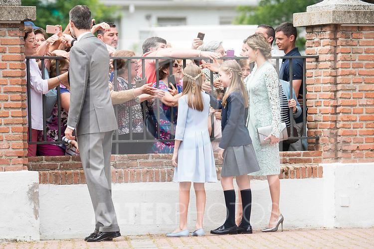 King Felipe VI, Princess Leonor, Princess Sofia and Queen Letizia after the First Communion of princess Sofia at Asuncion de Nuestra Senora Church in Madrid, May 17, 2017. Spain.<br /> (ALTERPHOTOS/BorjaB.Hojas)