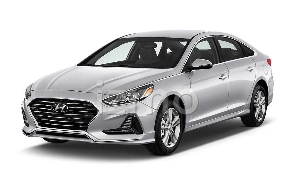 2018 Hyundai Sonata SEL 4 Door Sedan angular front stock photos of front three quarter view