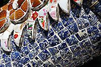 Mosaic dragon-scales made up of hundres of pieces of broken crockery. Linh Son Pagoda, Da Lat, Vietnam