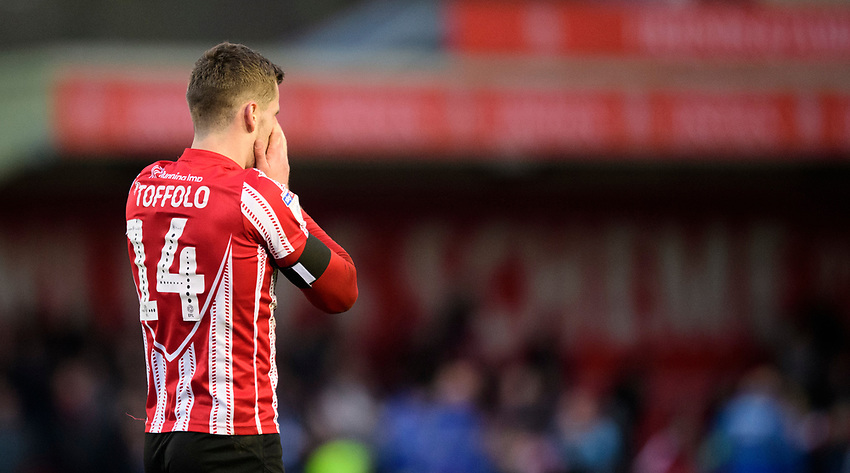 Lincoln City's Harry Toffolo reacts after failing to covert a chance late on <br /> <br /> Photographer Chris Vaughan/CameraSport<br /> <br /> The EFL Sky Bet League Two - Lincoln City v Stevenage - Saturday 16th February 2019 - Sincil Bank - Lincoln<br /> <br /> World Copyright © 2019 CameraSport. All rights reserved. 43 Linden Ave. Countesthorpe. Leicester. England. LE8 5PG - Tel: +44 (0) 116 277 4147 - admin@camerasport.com - www.camerasport.com