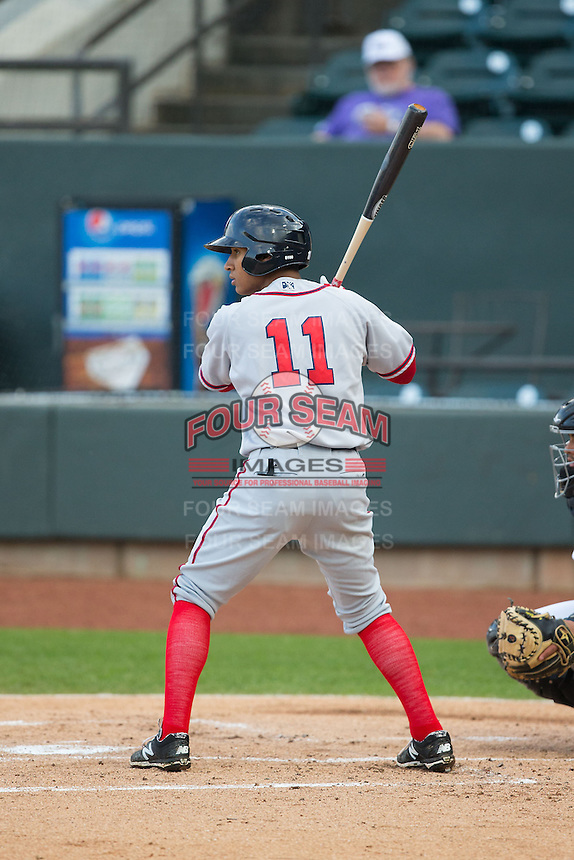 Christopher Bostick (11) of the Potomac Nationals at bat against the Winston-Salem Dash at BB&T Ballpark on April 30, 2015 in Winston-Salem, North Carolina.  The Nationals defeated the Dash 5-4..  (Brian Westerholt/Four Seam Images)
