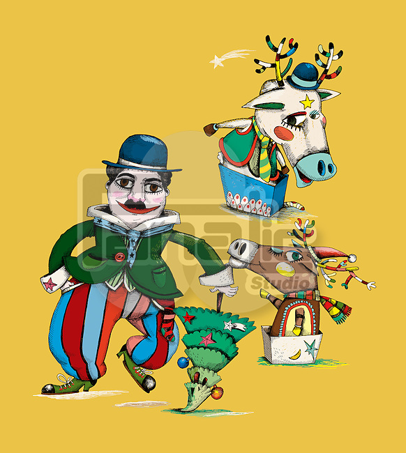 Illustration of clown with tree and reindeers representing Christmas