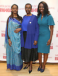 """Malaika Uwamahoro, Valentine Rugwabiza, Rwanda Ambassador to the UN and Immaculee ILibagiza during a reception for  """"Miracle in Rwanda"""" honoring International Day of Reflection on the 1994 Genocide against the Tutsi in Rwanda at the Lion Theatre on Theater Row on April 7, 2019 in New York City."""