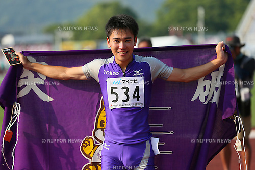 Kenta Oshima, JULY 30, 2015 - Athletics : 2015 All-Japan Inter High School Championships, Men's 100m Final at Kimiidera Athletic Stadium, Wakayama, Japan. (Photo by YUTAKA/AFLO SPORT)