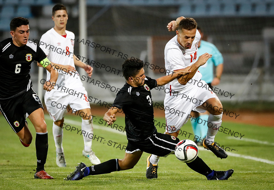 Fudbal Soccer<br /> Reprezentacija Srbije U21<br /> Kvalifikacije za U21 EURO 2019<br /> Srbija U21 v Gibraltar U21<br /> Vukasin Jovanovic (R) and Liam Crisp<br /> Jagodina, 09.01.2017.<br /> foto: Srdjan Stevanovic/Starsportphoto &copy;