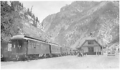 Train #316 ready to leave for Montrose and eventually Denver.  Business car Edna (built 1881 by Jackson and Sharp for D&amp;RG as business car A, sold to RGS in 1890) renumbered to B-20 in August 1921.<br /> D&amp;RG  Ouray, CO  Taken by Beam, George L. - ca. 1916
