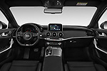 Stock photo of straight dashboard view of a 2019 KIA Stinger GT 5 Door Hatchback