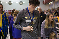 NWA Democrat-Gazette/CHARLIE KAIJO Bentonville's Zane Sutton accepts his award for the boys 200 yard individual medley during a swim meet, Saturday, February 9, 2019 at the University of Arkansas HYPER pool in Fayetteville.
