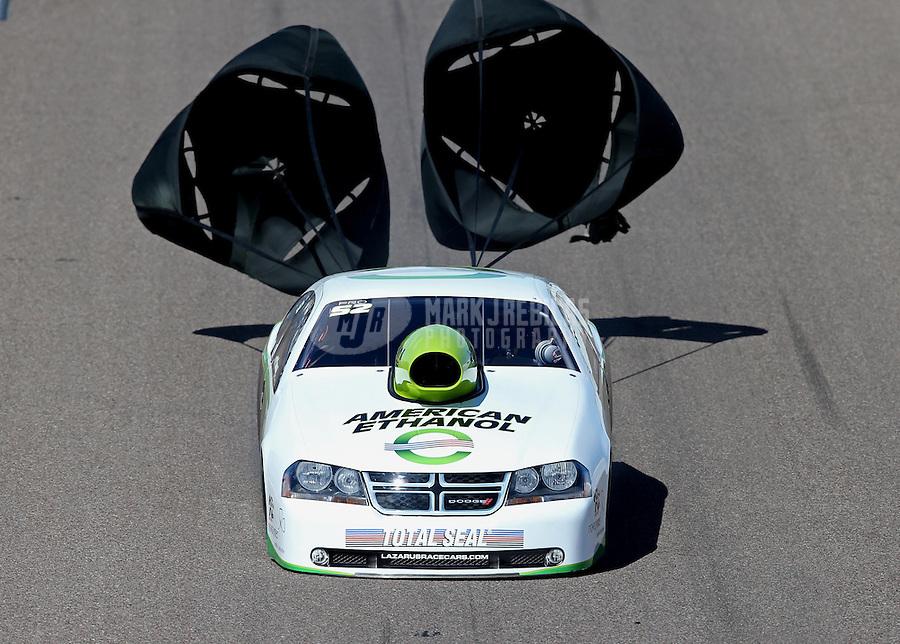 Feb. 24, 2013; Chandler, AZ, USA; NHRA pro stock driver Deric Kramer during the Arizona Nationals at Firebird International Raceway. Mandatory Credit: Mark J. Rebilas-
