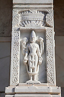 Jaipur, Rajasthan, India.  Lord Vishnu on Stone Column, Birla Mande Temple, also known as the Laxmi Narayan Temple, a Hindu Temple dedicated to Lord Vishnu (Narayan) and his consort Lakshmi.
