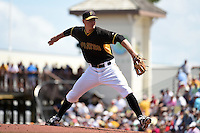 Pittsburgh Pirates pitcher Ryan Beckman (23) during a Spring Training game against the Boston Red Sox on March 12, 2015 at McKechnie Field in Bradenton, Florida.  Boston defeated Pittsburgh 5-1.  (Mike Janes/Four Seam Images)