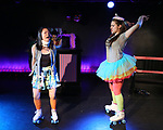 Hui-Shan Yong and Leah Lane during The Dare Tactic production of 'A Roller Rink Temptation' at  WOW Cafe on May 25, 2018 in New York City.