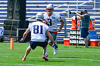 June 13, 2017: New England Patriots kicker Stephen Gostkowski (3) and wide receiver Cody Hollister (81) work on a drill at the New England Patriots organized team activity held on the practice field at Gillette Stadium, in Foxborough, Massachusetts. Eric Canha/CSM