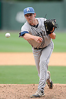 Pitcher Trent Blank (22) of the Asheville Tourists delivers a pitch in a game against the Greenville Drive on Sunday, July 20, 2014, at Fluor Field at the West End in Greenville, South Carolina. Asheville won game two of a doubleheader, 3-2. (Tom Priddy/Four Seam Images)