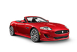 Red 2014 Jaguar XKR convertible luxury sports car isolated on white background with clipping path