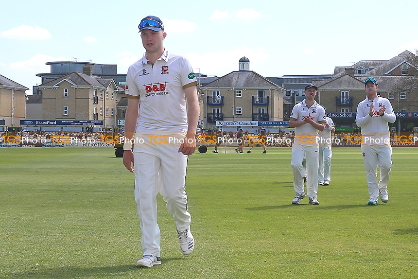 Sam Cook of Essex leaves the field after taking five wickets during Essex CCC vs Yorkshire CCC, Specsavers County Championship Division 1 Cricket at The Cloudfm County Ground on 4th May 2018