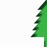 Cropped single paper cut effect Christmas tree