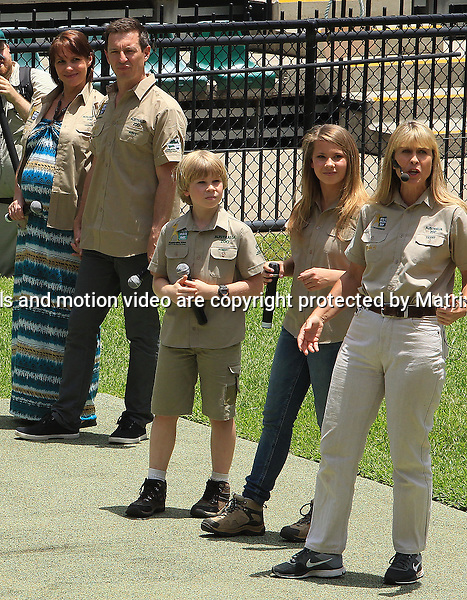 15 NOVEMBER  2013 SYDNEY AUSTRALIA<br /> <br /> EXCLUSIVE PICTURES<br /> <br /> Rove McManus pictured with his very pregnant wife Tasma at Australia Zoo as special guests on Steve Irwin Day with Terri, Bindi &amp; Bob<br /> <br /> *No internet without clearance*.<br /> MUST CALL PRIOR TO USE <br /> +61 2 9211-1088. <br /> <br /> Matrix Media Group.Note: All editorial images subject to the following: For editorial use only. Additional clearance required for commercial, wireless, internet or promotional use.Images may not be altered or modified. Matrix Media Group makes no representations or warranties regarding names, trademarks or logos appearing in the images.