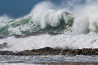 Coolangatta, Queensland (Sunday, February 24 2019 ) -  Swell generated by Tropical Cyclone Oma continued to hit the Gold Coast today even though the cyclone had been downgraded to a tropical low pressure. The winds winds were still from the South East  with Kirra and Currumbin Alley were the spots during the early morning low tide. The east to south east swell was still in the  6' - 8'  range in morning with some long lulls and gradually eased back on the afternoon dropping tide. Photo: joliphotos.com