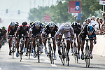 Elia Viviani (ITA) Team Sky outsprints World Champion Peter Sagan (SVK) Tinkoff-Saxo to win Stage 2, The Capital Stage, of the 2015 Abu Dhabi Tour running 129 km from Yas Marina Circuit to Yas Mall, Abu Dhabi. 9th October 2015.<br /> Picture: ANSA/Angelo Carconi | Newsfile