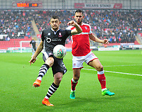 Lincoln City's Sean Long vies for possession with Rotherham United&rsquo;s Joe Mattock<br /> <br /> Photographer Andrew Vaughan/CameraSport<br /> <br /> The Carabao Cup First Round - Rotherham United v Lincoln City - Tuesday 8th August 2017 - New York Stadium - Rotherham<br />  <br /> World Copyright &copy; 2017 CameraSport. All rights reserved. 43 Linden Ave. Countesthorpe. Leicester. England. LE8 5PG - Tel: +44 (0) 116 277 4147 - admin@camerasport.com - www.camerasport.com