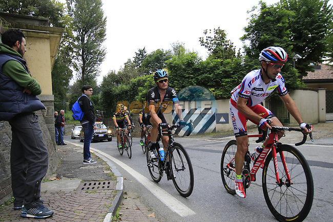 Angel Vicioso Arcos (ESP) Katusha and Vasil Kiryienka (BLR) Team Sky tackle the final climb of Superga near the finish of the 2015 96th Milan-Turin 186km race starting at San Giuliano Milanese, Italy. 1st October 2015.<br /> Picture: Eoin Clarke | Newsfile