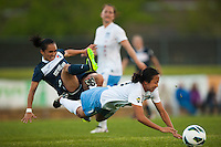 Sky Blue FC forward Monica Ocampo (8) and Chicago Red Stars defender Rachel Quon (11) collide. Sky Blue FC and the Chicago Red Stars played to a 1-1 tie during a National Women's Soccer League (NWSL) match at Yurcak Field in Piscataway, NJ, on May 8, 2013.