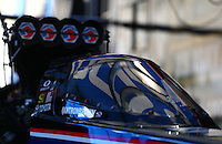 Jul. 21, 2013; Morrison, CO, USA: Detailed view of the canopy on the car of NHRA top fuel dragster driver Antron Brown during the Mile High Nationals at Bandimere Speedway. Mandatory Credit: Mark J. Rebilas-