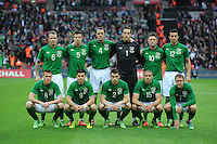 29.05.2013 London, England. Republic of Ireland squad, back-row (L-R), Glenn Whelan, Sean St Ledger, John O'Shea, David Forde, Robbie Keane, Stephen Kelly. Front row (L-R) James McCarthy, Shane Long, Seamus Coleman, Jon Walters, Aiden McGeady. before the International Friendly between England and Republic of Ireland from Wembley Stadium.