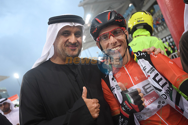 Race leader Rui Coata (POR) UAE Abu Dhabi team at sign on before the the start of Stage 4 Yas Island Stage of the 2017 Abu Dhabi Tour, 143km with 26 laps of 5.5km of the Yas Marina Circuit, Abu Dhabi. 26th February 2017.<br /> Picture: ANSA/Claudio Peri | Newsfile<br /> <br /> <br /> All photos usage must carry mandatory copyright credit (&copy; Newsfile | ANSA)