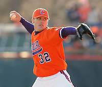 RHP Trey Delk (32) of the Clemson Tigers pitches in a game against the Charlotte 49ers on Feb. 20, 2009, at Doug Kingsmore Stadium in Clemson, S.C. It was Clemson's season opener, and Delk got the win as the Tigers won 8-3. (Photo by: Tom Priddy/Four Seam Images)