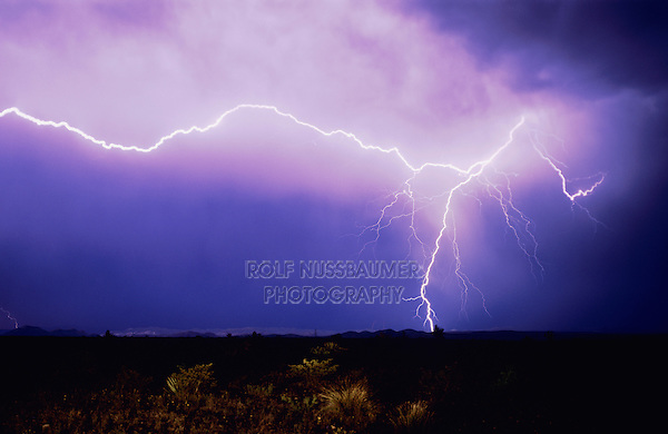 Lightning strike over desert, Big Bend National Park,Texas, USA