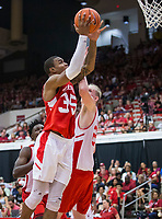 NWA Democrat-Gazette/BEN GOFF @NWABENGOFF<br /> Reggie Chaney (35), Arkansas forward, shoots as Connor Vanover, Arkansas forward, defends in the second half Saturday, Oct. 5, 2019, during the annual Arkansas Red-White Game at Barnhill Arena in Fayetteville.