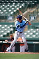 Tampa Bay Rays Josh Lowe (18) at bat during an Instructional League game against the Baltimore Orioles on October 2, 2017 at Ed Smith Stadium in Sarasota, Florida.  (Mike Janes/Four Seam Images)