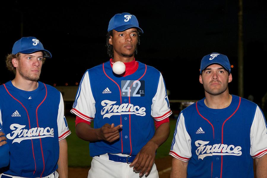 21 June 2011: Owen Ozanich, Harold Castillo and Vincent Ferreira of Team France are seen after Czech Republic 3-1 win over France, at the 2011 Prague Baseball Week, in Prague, Czech Republic.
