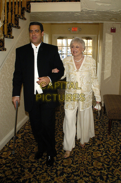 FRANK BASILE & CELESTE HOLM.Recipient of the Lifetime Achievement Award for Acting. .The fifth annual Garden State Film Festival awards dinner at The English Manor, Ocean, New Jersey, USA..March 25th, 2007.full length black white cream dress sequins sequined arms linked gloves walking cane.CAP/ADM/BL.©Bill Lyons/AdMedia/Capital Pictures *** Local Caption ***