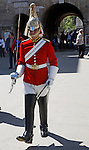 Horse Guard soldier marching, Horse Guards building, Whitehall, London, England