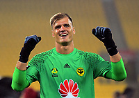 Lewis Italiano celebartes winning the A-League football match between Wellington Phoenix and Melbourne Victory at Westpac Stadium in Wellington, New Zealand on Friday, 10 January 2018. Photo: Dave Lintott / lintottphoto.co.nz