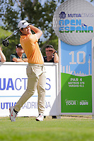 Ricardo Gouveia (POR) on the 10th tee during the second round of the Mutuactivos Open de Espana, Club de Campo Villa de Madrid, Madrid, Madrid, Spain. 04/10/2019.<br /> Picture Hugo Alcalde / Golffile.ie<br /> <br /> All photo usage must carry mandatory copyright credit (© Golffile | Hugo Alcalde)