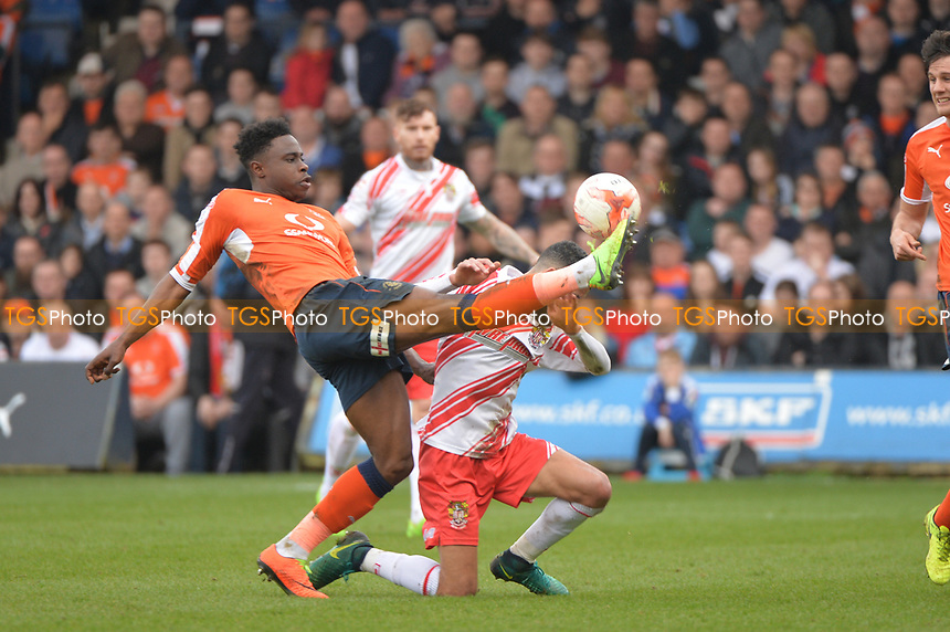 issac vassal challenges jobs mcanuff during Luton Town vs Stevenage, Sky Bet EFL League 2 Football at Kenilworth Road on 11th March 2017