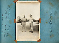 BNPS.co.uk (01202 558833)<br /> AndreasThies/BNPS<br /> <br /> Picture: Capt Sigel (left) and SGT Kelly at Tinian, Marianas.<br /> <br />  Never-before-seen photos of the aircraft crew that dropped the world's first atomic bomb receiving a heroes' welcome upon returning from the historic mission have come to light.<br /> <br /> The black and white images show the 12 airmen posing for photos moments after the B-29 bomber 'Enola Gay' arrived back at base in the wake of the devastating attack on Hiroshima in Japan.<br /> <br /> One photo is of pilot Colonel Paul Tibbets being given an immediate gallantry decoration by a general after stepping off the aircraft.<br /> <br /> The album, containing 88 images, was collated by a US airman serving on the base during World War Two.