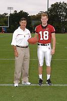7 August 2006: Stanford Cardinal head coach Walt Harris and Charlie Hazlehurst during Stanford Football's Team Photo Day at Stanford Football's Practice Field in Stanford, CA.