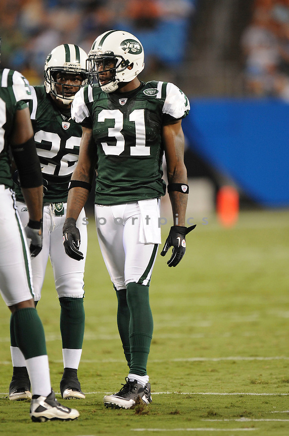 ANTONIO CROMARTIE, of the New York Jets in action during the Jets game against the Carolina Panthers  at Bank of America Stadium in Charlotte, N.C.  on August 21, 2010.  The Jets beat the Panthters 9-3 in the second week of preseason games...