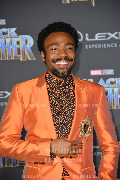 """Donald Glover at the world premiere for """"Black Panther"""" at the Dolby Theatre, Hollywood, USA 29 Jan. 2018<br /> Picture: Paul Smith/Featureflash/SilverHub 0208 004 5359 sales@silverhubmedia.com"""