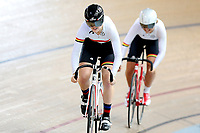 Olivia King and McKenzie Milne of Waikato BOP compete in the U17 Girls 500m Team Sprint final at the Age Group Track National Championships, Avantidrome, Home of Cycling, Cambridge, New Zealand, Sunday, March 19, 2017. Mandatory Credit: © Dianne Manson/CyclingNZ  **NO ARCHIVING**