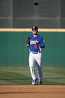 Alex Verdugo (16) of the Rancho Cucamonga Quakes returns from the outfield to the dugout during a game against the Inland Empire 66ers at LoanMart Field on September 6, 2015 in Rancho Cucamonga, California. Rancho Cucamonga defeated Inland Empire, 10-6. (Larry Goren/Four Seam Images)