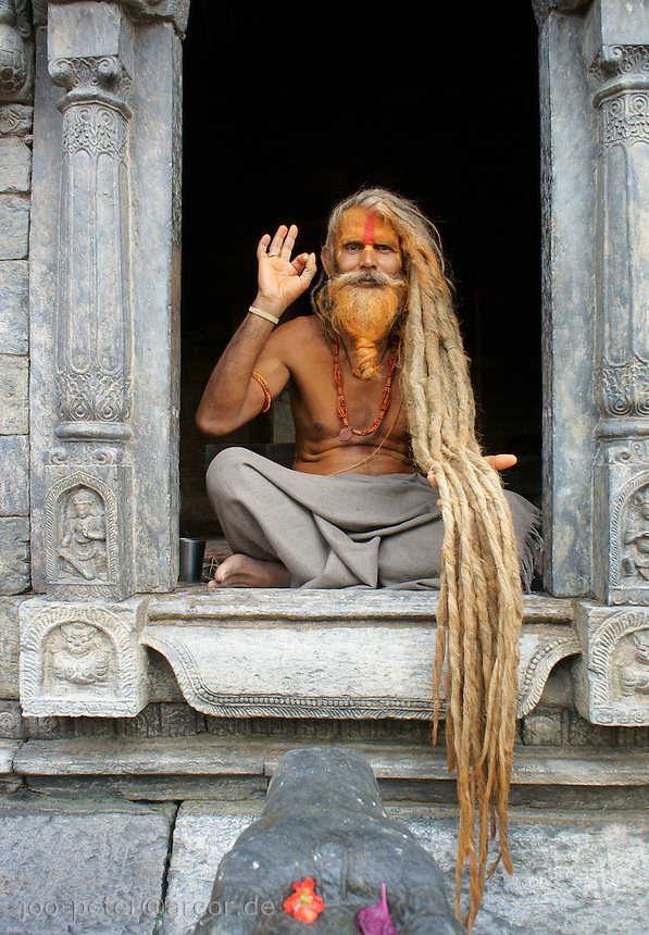 sadhus in Pashupatinath, Kathmandu, Nepal, September 2011. Follower of Ram (Rama, incarnation of Vishnu), next supreme god Shiva, who is mainly adored in Pashupatinath)